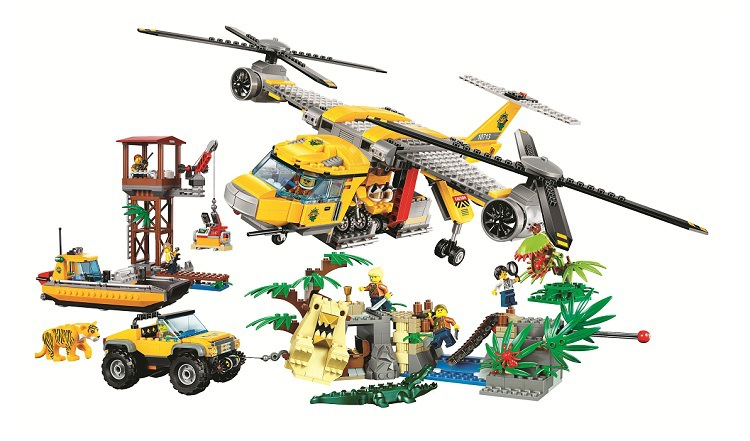 Gifts Pogo Bela 10713 1298PCS City Urban Jungle Air Drop Helicopter Building Blocks Bricks Compatible with