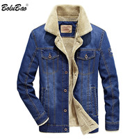 BOLUBAO Winter Jacket Men Fashion Brand New Fleece Lined Thick Warm Cotton Denim Jeans Jacket Male Street Jacket Coat Outerwear