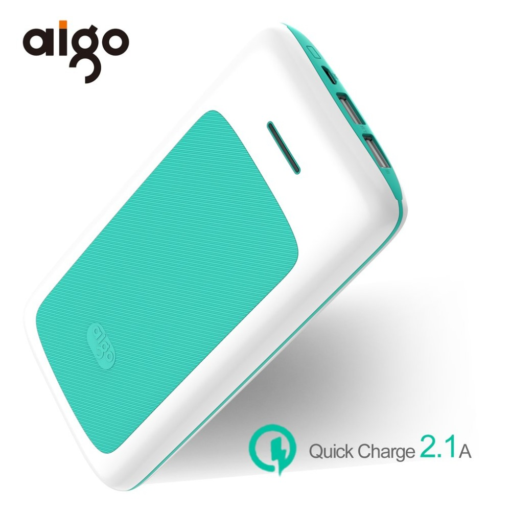 Aigo 20000mAh Power Bank Quick Charge For Xiaomi Mi Dual USB PowerBank Portable External Battery Pover Bank For iPhone X 8plus