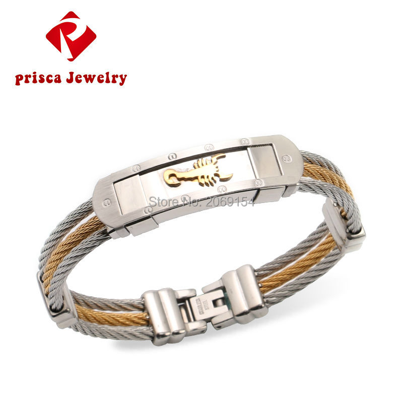 Fashion Jewelry Men Chain & Link Bracelet Silver Steel Charm Bracelets & Bangles Gold Chain  Wristband Charm Classic Jewelry