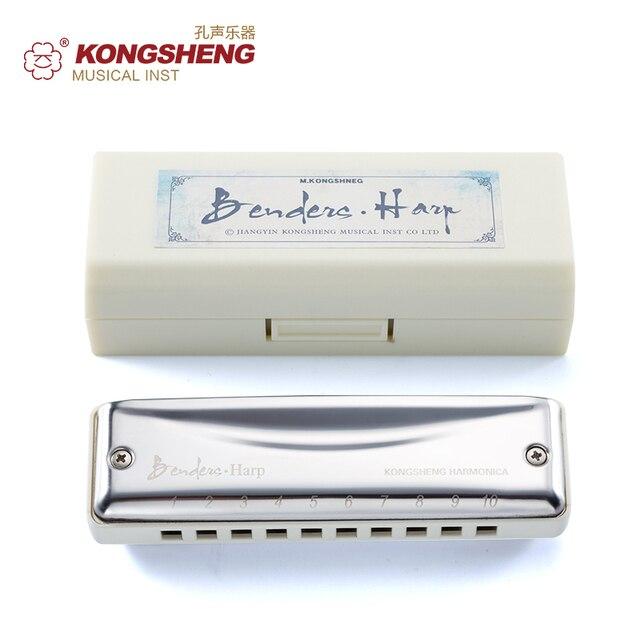 KONGSHENG губные гармоники 10 отверстий диатоническая рот орган Ключ C/D/E/F/G/A/Bb музыкальный инструмент Блюз арфы для начинающих