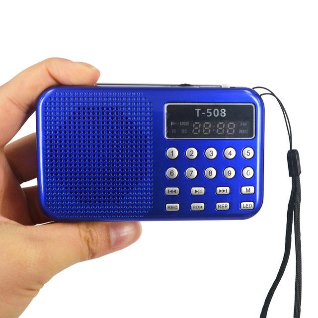 Venda quente! Mini Portátil dual band Recarregável Digital display LED painel Estéreo Locutor de Rádio FM USB TF mirco para Cartão SD MP3 Mu