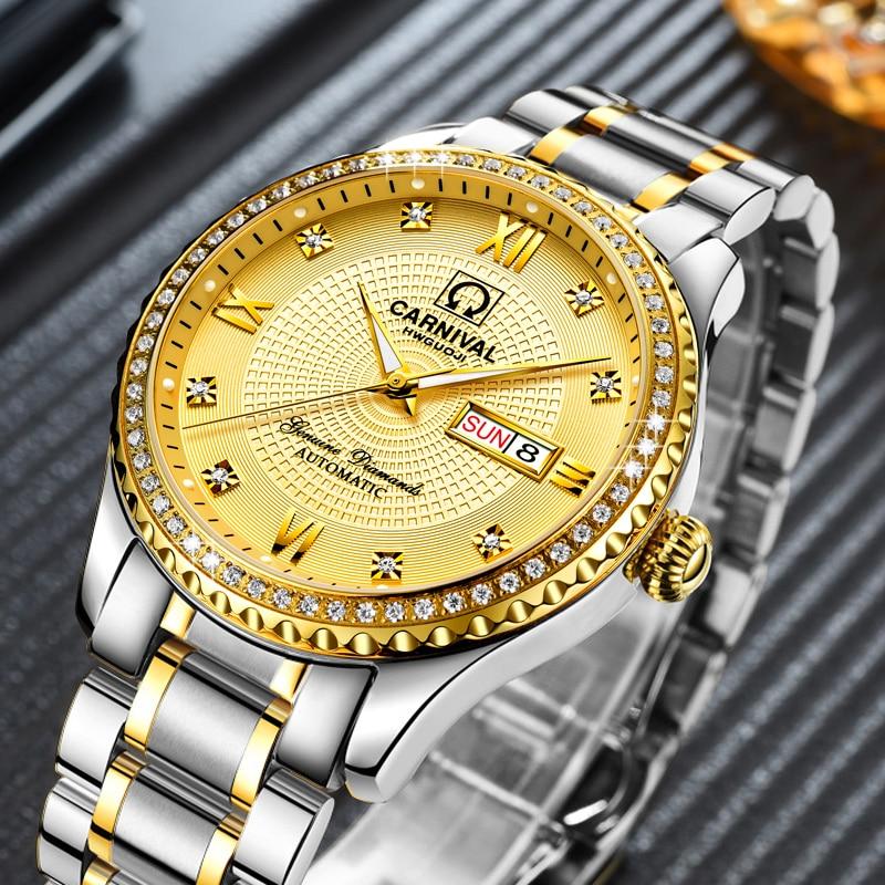 Luxury Carnival Mechanical Men Watch Diamond Sapphire Waterproof Luminous Day -Date Male Gold Wristwatch цена и фото