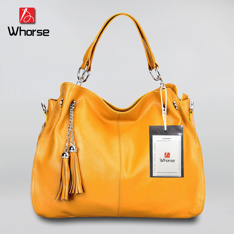 ФОТО [WHORSE] Brand Logo New Leisure Tassel Genuine Soft Real Cow Leather Women Handbag Lady Shoulder Messenger Bag Tote WA50217