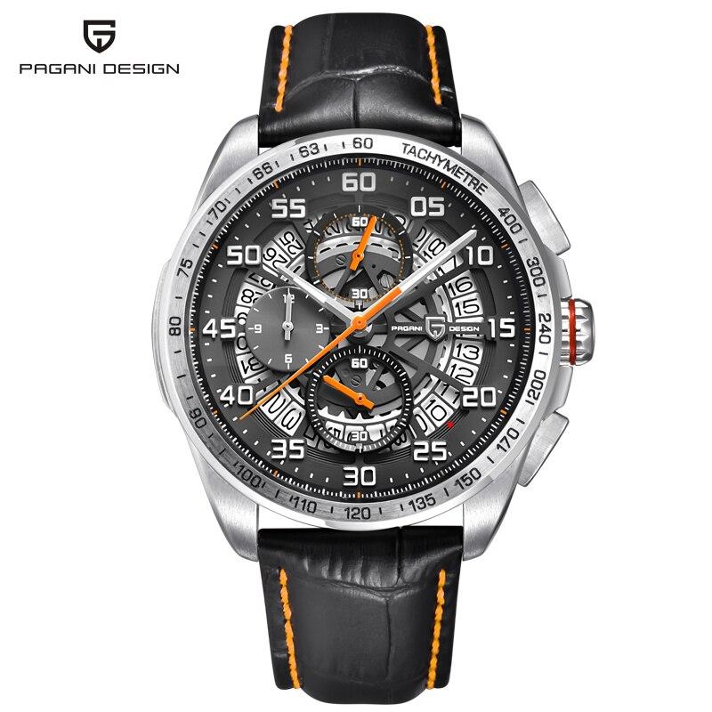 PAGANI Дизайн водостойкие кожаные кварцевые часы с костями Элитный бренд спортивный хронограф мужские часы Relogios Masculino saat