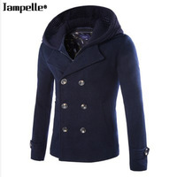 High Grade New Fashion Brand Clothing Jacket Men Wool Coat Double Breasted Pea Coats Men Long