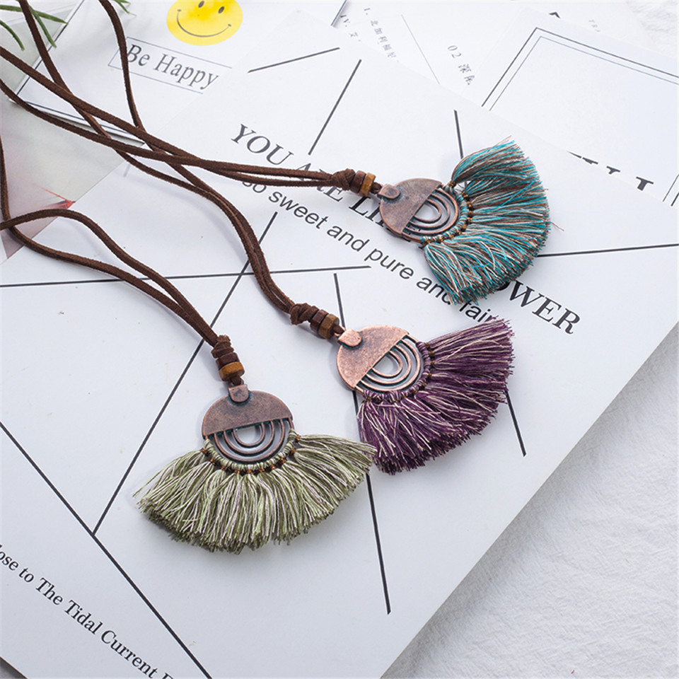 2018 Vintage fabric tassel long sweater chain ethnic pendant power necklace choker for women jewelry wholesale price sales item
