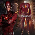 The Flash Cosplay Costume The Flash Season 1 Barry Allen Costume Flash Superhero Clothing Suit Whole Set With Boots Adult Men