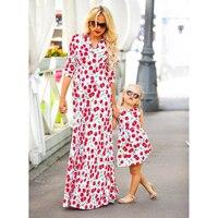 Mother Daughter Long Dress 3xl Women 2018 Family Matching Gown Family Matching Outfits Women Mom Baby Girl Ankle Length Dress
