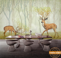 Custom Children Kids Cartoon Green Wallpaper Mural Creative Spring Deer In Fantasy Tree Forest Tv Sofa