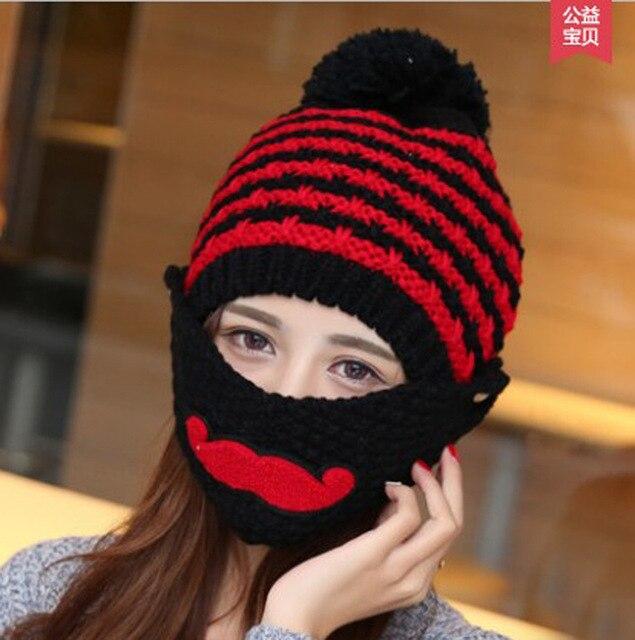 9eff037c118 2018 Novelty Winter Striped Knit Face Mask hats Beanies Thicken Crochet  Beard Unisex Balaclava Bonnets Hat