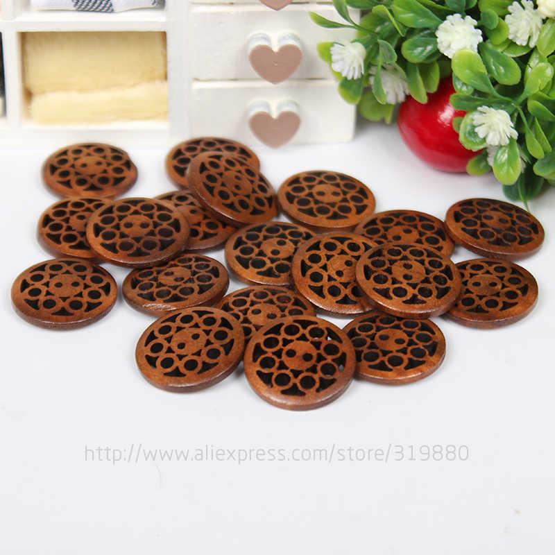 Tianxinyue 30 шт коричневые деревянные пуговицы с 2 отверстиями Кнопки 20 мм Швейные Скрапбукинг DIY Костюмы аксессуары