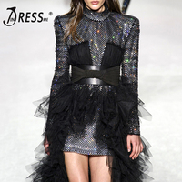 INDRESSME Fashion O Neck Knee Length Sequined Belt Lady A Line Mesh Dress Long Sleeve Sexy Women Dress Vestidos 2018 News