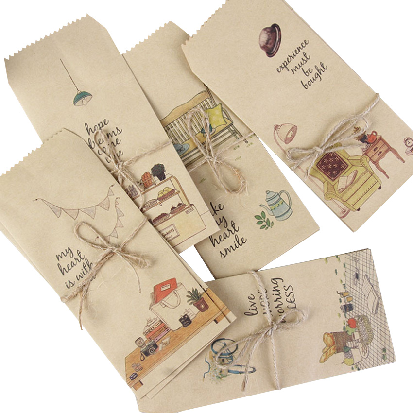 5pcs/pack 88*195mm Those Little Things Paper Window Envelopes Office Stationery Paper Bag