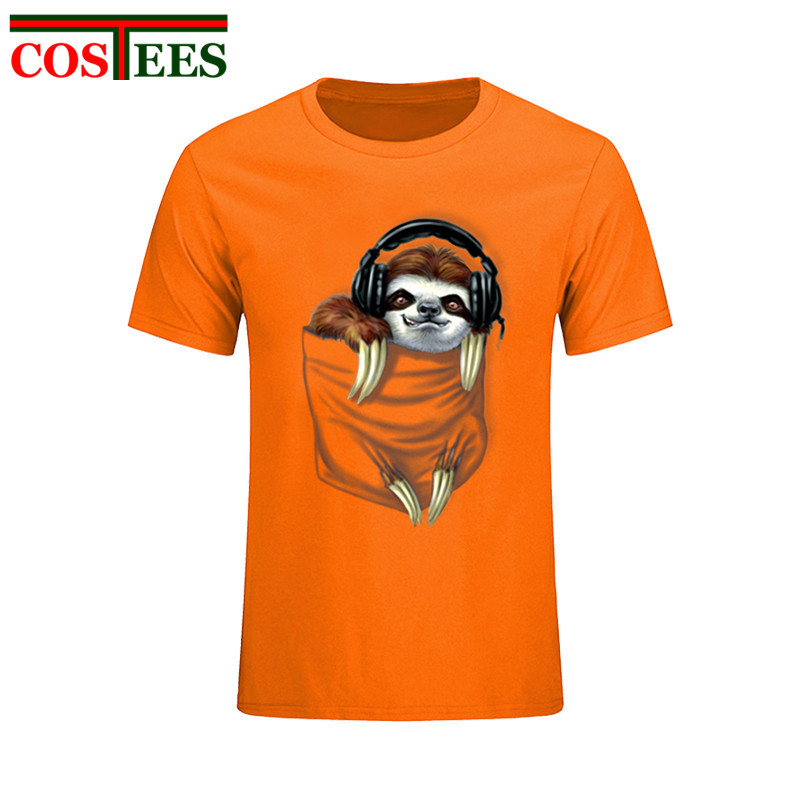8d2359708 Little Pocket Sloth Jammin to My Heartbeats T shirt Pop Design Cool Novelty Funny  Tshirt Stylish Men Women Fashion Print Top Tee