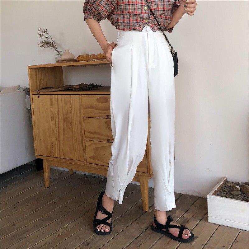 HziriP Korean Loose Straight Slender Casual Women High Waist Simple   Wide     Leg     Pants   New Stylish Female Solid Ankle Length   Pants