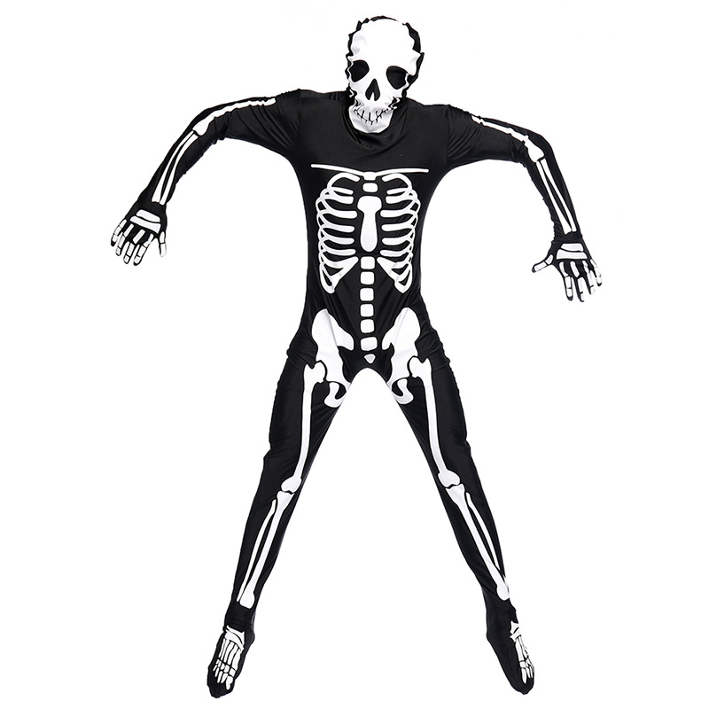 Umorden Halloween Grim Reaper Scary Skull Skeleton Costume Totally Skelebones Costumes Long Jumpsuit Zentai Suit for Men