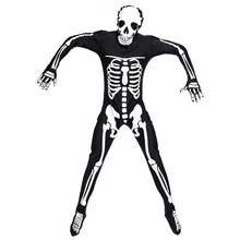 Umorden Halloween Grim Reaper Scary Skull Skeleton Costume Totally Skelebones Costumes Long Jumpsuit Zentai Suit for Men