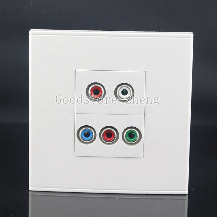 Wall Face Plate 5 Ports RCA AV + RGB Jack Socket Assorted Panel Faceplate HD TV 200pcs 4 color rca socket jack av plug panel mount diy