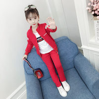 Fashion Girls 3 Piece Set Zipper Coat+White T shirt+Pant Autumn Children's Sports Suits Kids Girls Clothing Sets Tracksuit Kids