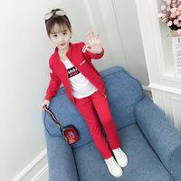 Fashion Girls 3 Piece Set Zipper Coat+White T shirt+Pant Autumn Children's Sports Suits Kids Girls Clothing Sets Tracksuit Kids