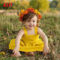 Summer 2017 Fashion Yellow Dress Baby Girl Vintage Pure Color Big Bow Princess Dresses Infants Girls Dress Clothes KD523
