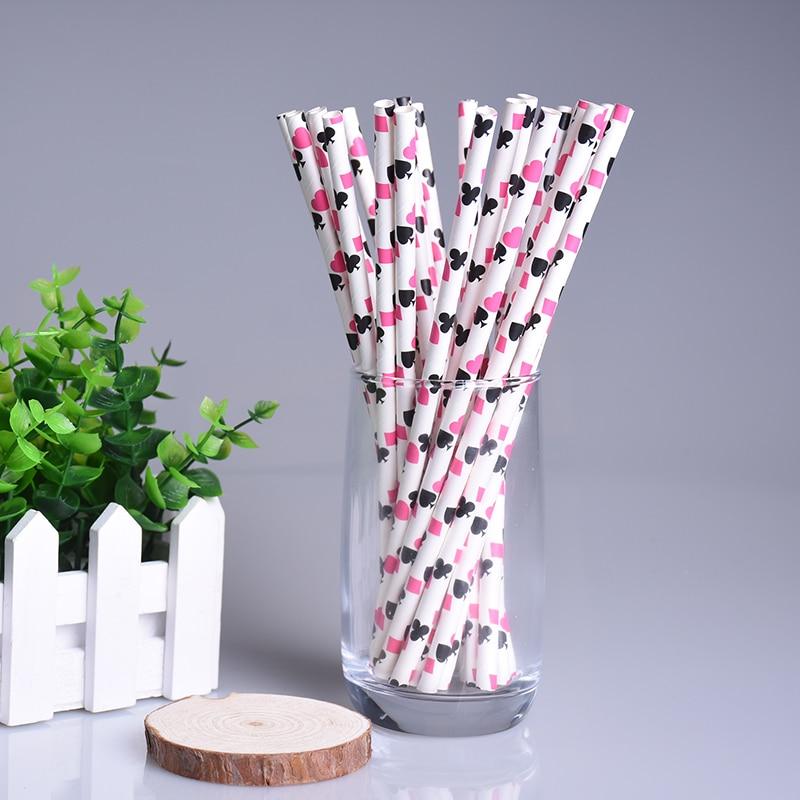 New 50pcs/lot Poker Pattern Red Fushia Paper Drinking Straws For Kids Birthday Banquet Wedding Bar Party Christmas Decor