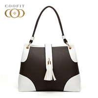 Coofit Womens Retro Style Tassel Messenger Bag Handbag Female Fight Color Fashion Stylish PU Leather Shoulder Bag For Lady Girls