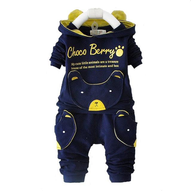 2017 nueva primavera bebé de la manera ropa de la historieta establece chaqueta con capucha + pantalones traje para bebé chilren niños niñas suéteres ropa