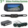 DIYKIT 7 Inch Rear View Car Mirror Monitor + 18 Colors Video Parking Radar + IR Ccd Car Camera Parking Assistance System
