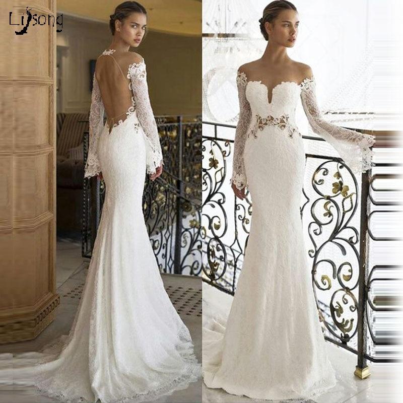 Wedding Dresses Wedding Gown Sheer Long Sleeves White: Vestido De Casamento White Lace Long Sleeves Sheer Scoop