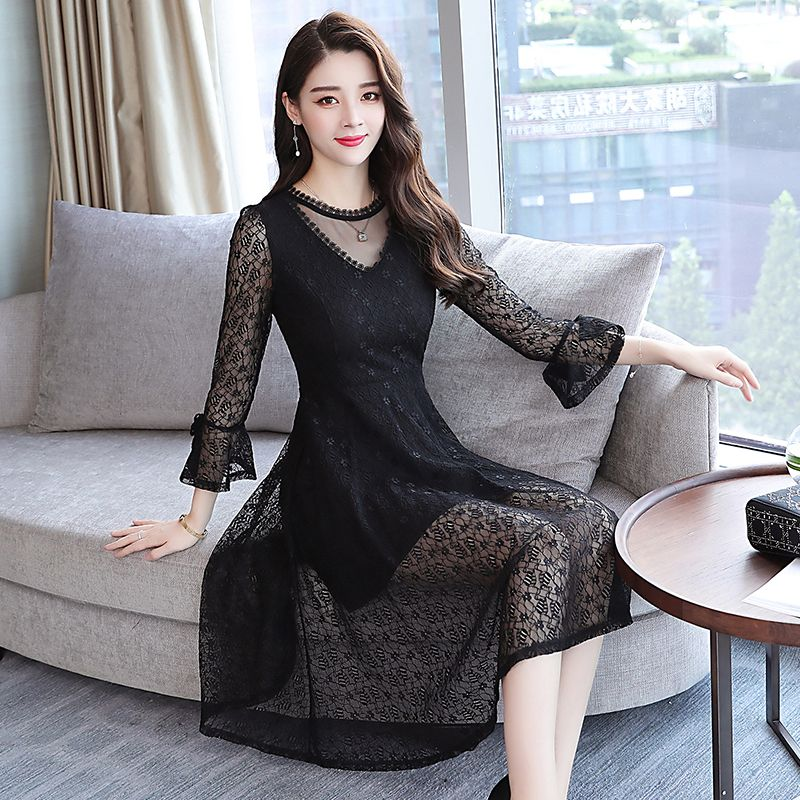 2018 Autumn Winter New 3XL Plus Size Vintage Lace Black Midi Dresses Women Bodycon Pink Dress