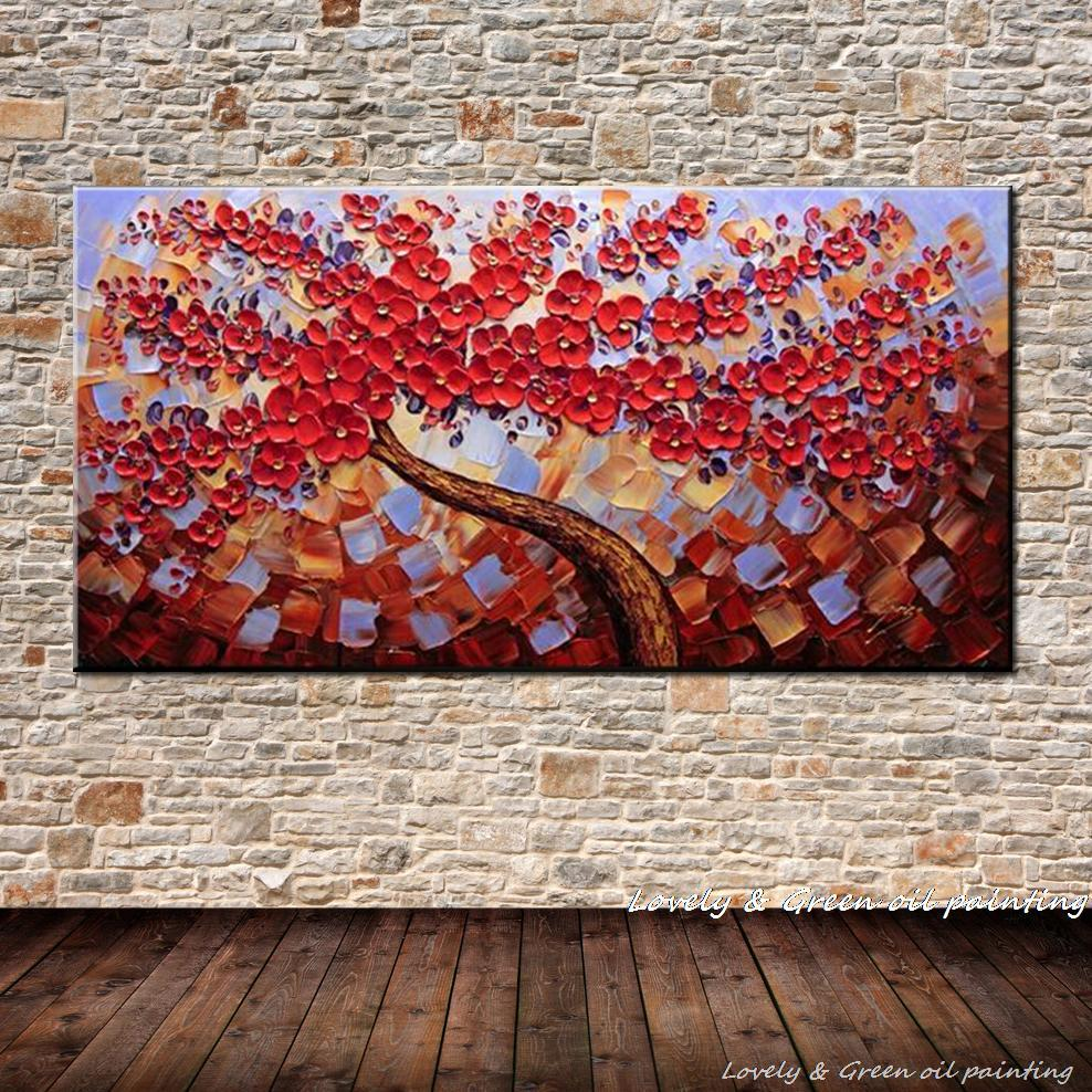 100 Hand Painted Aesthetic Living Red Floral Tree