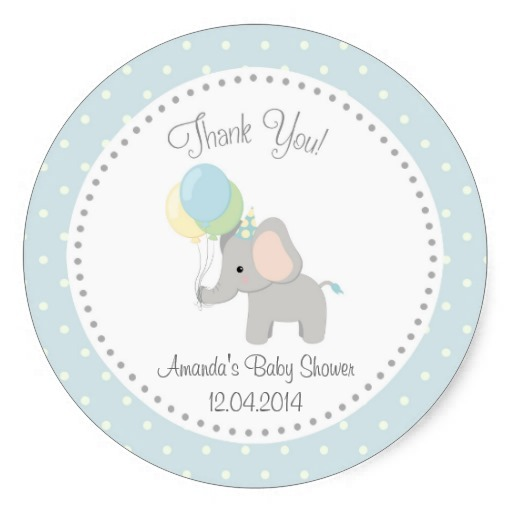 3 8cm Cute Elephant Baby Shower Sticker Blue In Stickers From Home
