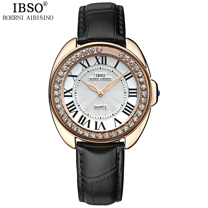 IBSO Brand Fashion Women Watches 2018 Red Genuine Leather Strap Watch Women Crystal Diamond Quartz Wristwatches Montre Femme цена 2017
