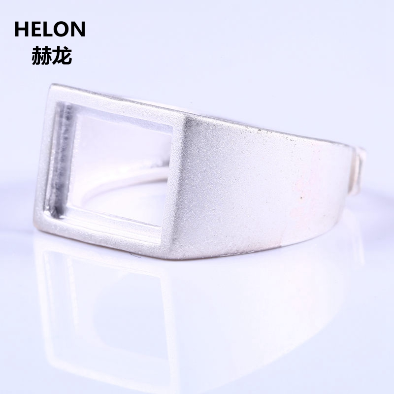 Sterling Silver 925 Engagement Wedding Men Ring for 8x10mm Princess Cabochon Amber Agate Lapis Lazuli Semi Mount Jewelry Setting