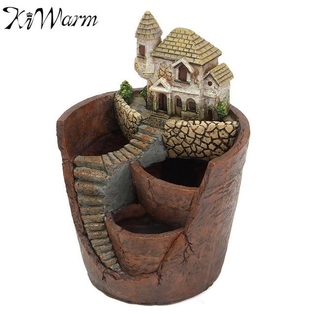 Kiwarm Mini House Figurines Resin Flower Pot For Herb Cacti Succulent Plants Planter Home Garden Micro