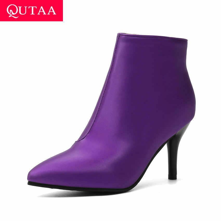 QUTAA 2020 Seksi Sivri Burun Ince Yüksek Topuk Sonbahar Kış Tüm Maç Kadın Çizmeler PU Deri Moda Mor yarım çizmeler Boyutu 34-43