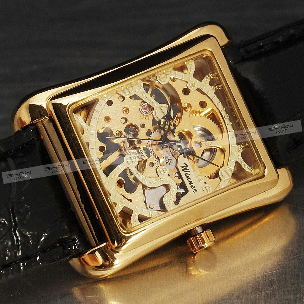 2016 победитель ретро дамы полуавтоматическая механические часы женщины наручные часы скелет прямоугольник часы кожаный ремешок подарок + коробка