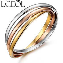 LCEOL Fashion Brand Jewelry 316L Men And Women 3 circles Bracelets Bangles stainless steel Bracelet jewelry