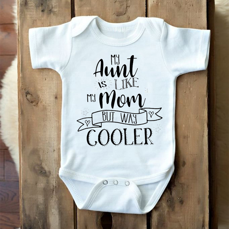New Boys Girls Summer Baby Boy Girl Short Sleeve Aunt Is Like Mom But Way Cooler Jumpsuit Romper Newborn Baby Clothes Twins