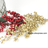 Christmas fruit dried flower branch red/gold lucky fruit artificial flower H 100cm