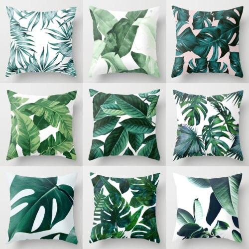 Polyester Pillow Green Leaves Throw Sofa Car Cushion Home Decor