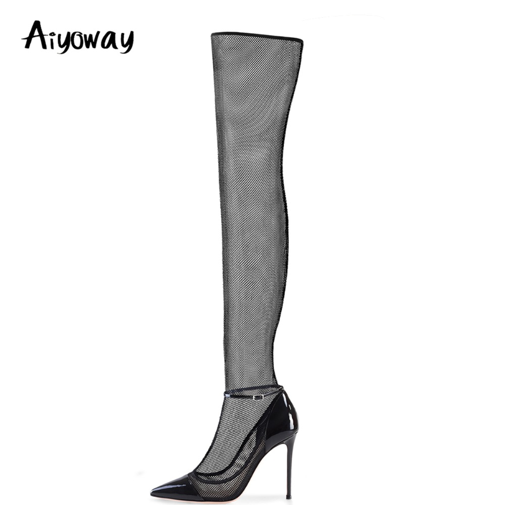 Aiyoway Sexy Women Ladies Pointed Toe High Heel Pumps Over Knee Boots Black Mesh Ankle Buckle Spring Autumn Shoes Big Size knee high women spring autumn boots sexy high heel leather boots pointed toe buckle decoration designer boots wine white shoes