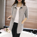 2016 New Winter Women's Clothing Colorful Yarn Mohair Loose Long Cardigan Jackets Fashion Square Collar Slim Knitted Sweaters