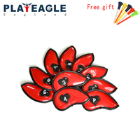 10 pcs/Set Thick Golf Iron Headcover PU Leather Golf Head Cover with Heart Pattern for Closure 3 PW Club Protect Cover With Gift