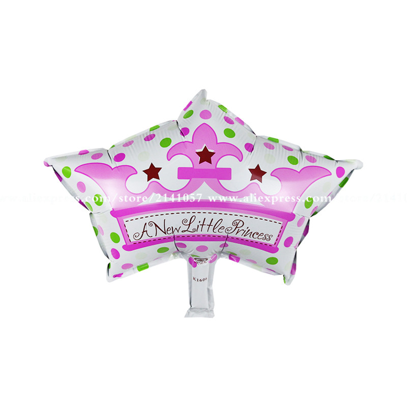 20pcs Baby shower Happy Birthday Balloons Prince Crown Princess children kids in