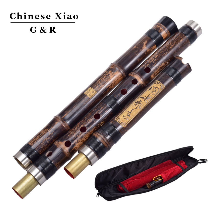 Chinese Vertical Bamboo Flute Xiao 8 Holes Accurately Tuned Chromatic Music Instrument G/F Key Dong Xiao Three Sections Flauta