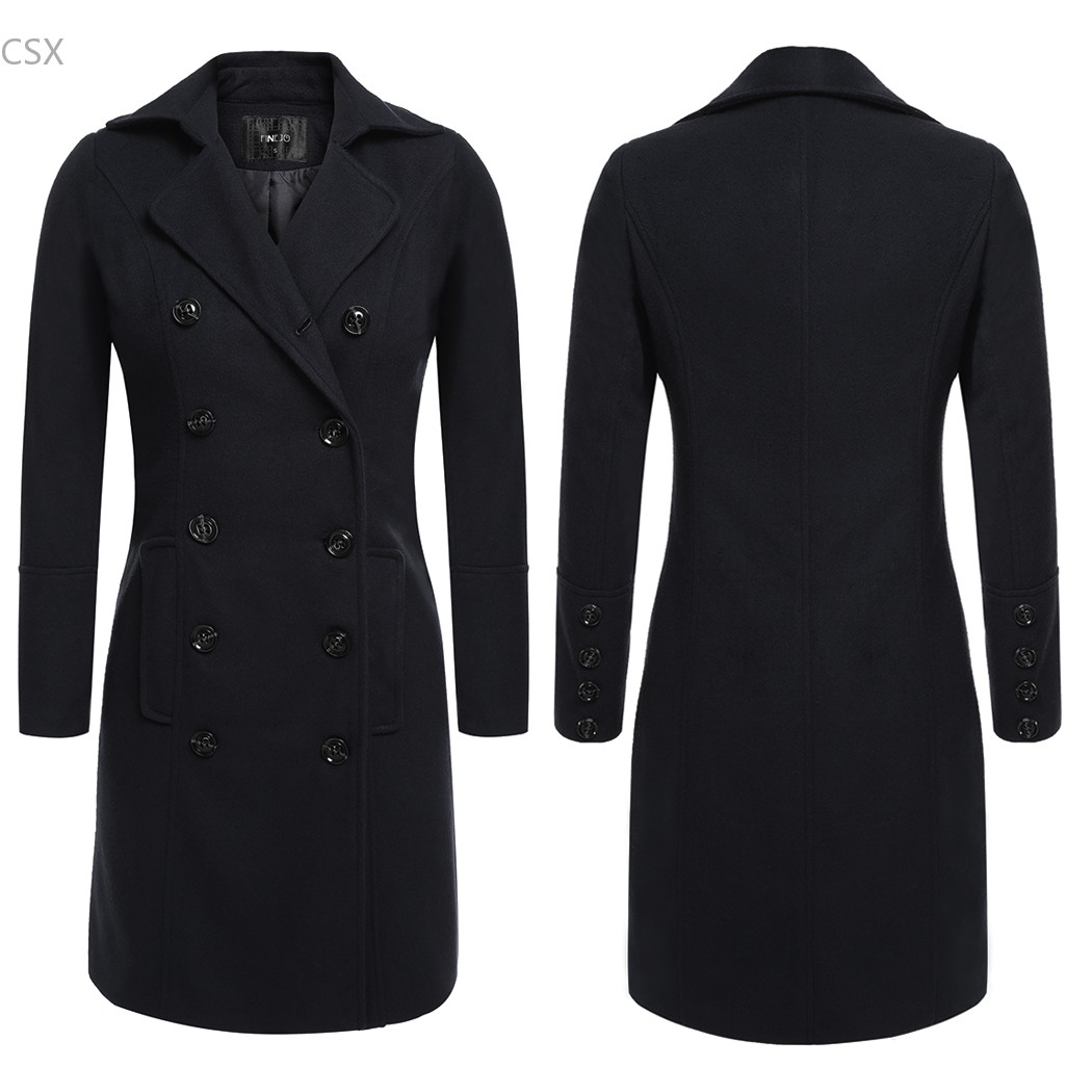 Women   Trench   Coat Autumn Winter Long Style Casual Turn Down Collar Double Breasted Long   Trench   Coat XXXL Big Multi-size