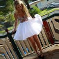Nueva Llegada Color Crystal Beaded Vestidos de Coctel Cortos 2017 de Encargo Brillante Blanco Gasa vestido de Bola del Baile Vestidos vestidos De Coctel